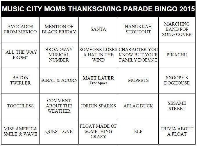 Thanksgiving Parade Bingo